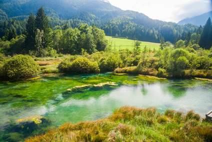 Romantischer Blick auf den Sava Fluss in Slowenien. Naturschützer sehen dieses Idyll in Gefahr.